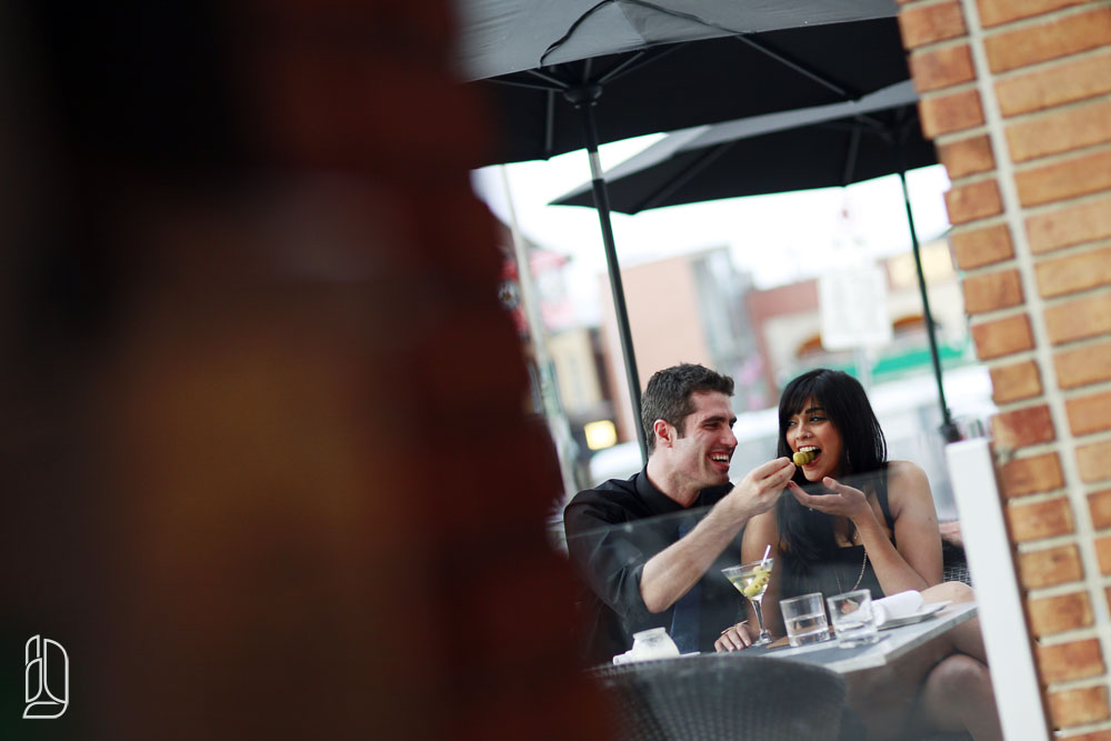Engagement portraits with Isha and Sam at Byward Market's Restaurant 18 in Ottawa