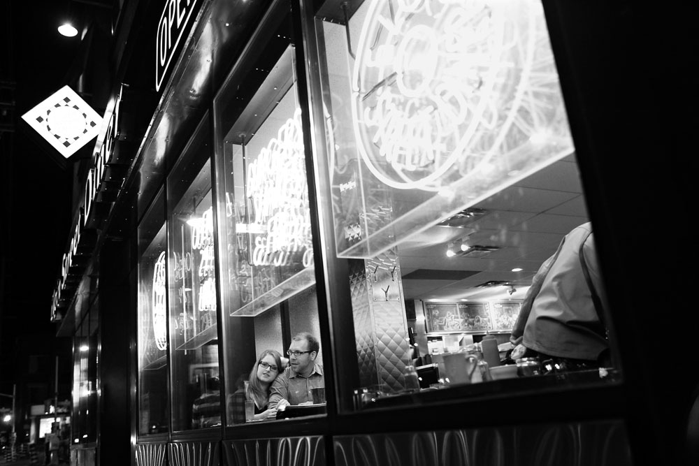 Engagement session with Kaitlin Grant and Keith at the Elgin Street Diner in Ottawa