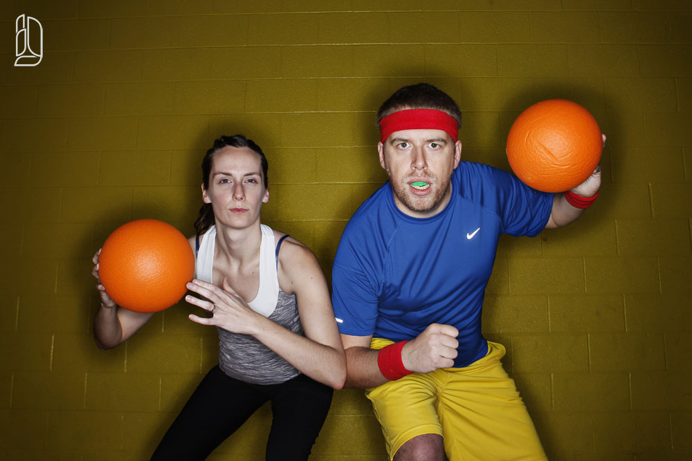 Dodgeball engagement portraits with Meagan + Dan