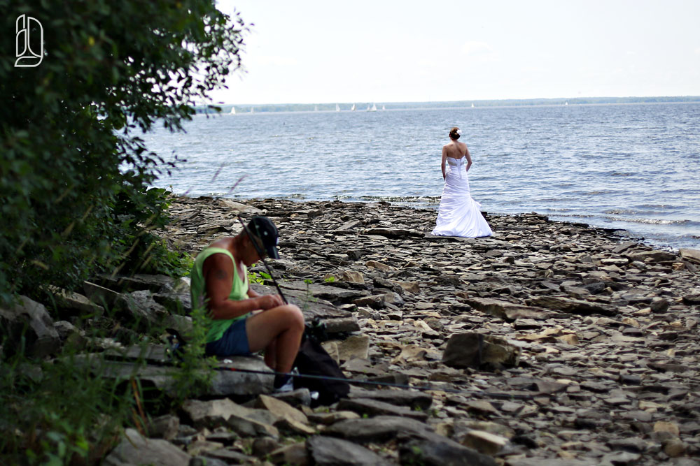 Summer wedding of Sylvie + Adam at the Britannia Yacht Club on the Ottawa River