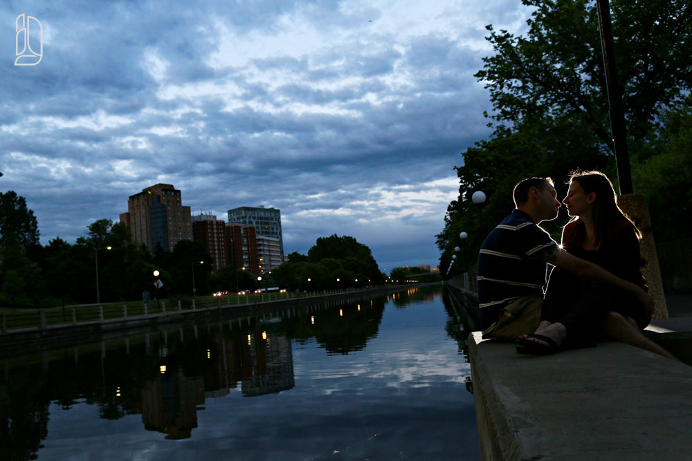 Sunset engagement portraits on the Rideau Canal with Sylvie and Adam